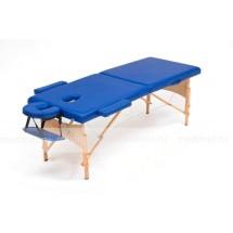 JF-AY01/1  Стол для массажа переносной двухсекционный на деревянной раме, синий и кремовый