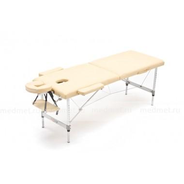 JF-AL03МК Стол для массажа трехсекционный  на усиленной раме из алюминия, дизайн Волна синий/кремовый