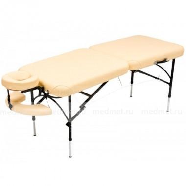 JF-AL01A Легкий массажный стол  двухсекционный на алюминиевом каркасе, кремовый однотонный