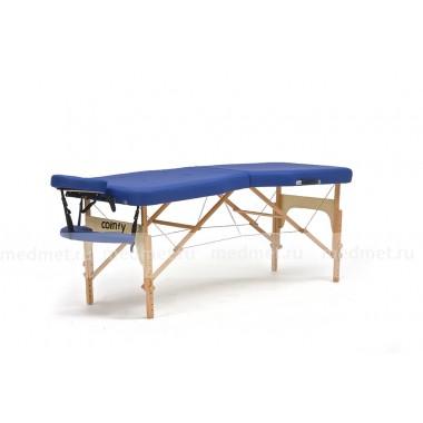 JF-Advanta Стол массажный переносной на деревянном каркасе из бука, синий однотонный