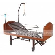 YG-6 Wood2 Кровать медицинская с механическим приводом туалета и спинной секции,деревянная,Серия Домашняя Забота