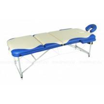 JF-AL03МК2 Массажный трехсекционный стол на усиленной раме из алюминия, дизайн Волна кремовый/синий