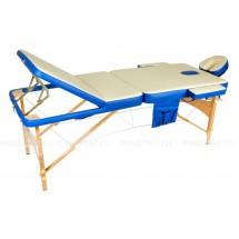 JF-AY01/4 Стол массажный трехсекционный усиленный на буковой раме, синий/бежевый