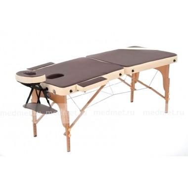 JF-AY01/5 Массажный стол складной облегченный  на деревянной раме, коричневый/кремовый