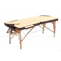 JF-AY01/7 Стол для массажа складной двухсекционный на  буковом каркасе, бежевый/коричневый